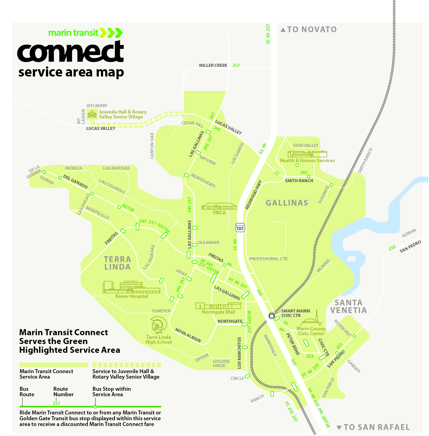 This map depicts the area served by Novato Dial-A-Ride. The area contains the entirety of Novato, as well as San Marin, Green Point, Bel Marin Keys, Hamilton, and Ignacio. The service area connects to local routes 35, 49, 71X, 251, 70, 101, 58 in Novato and 49, 251, and 257 in Hamilton.